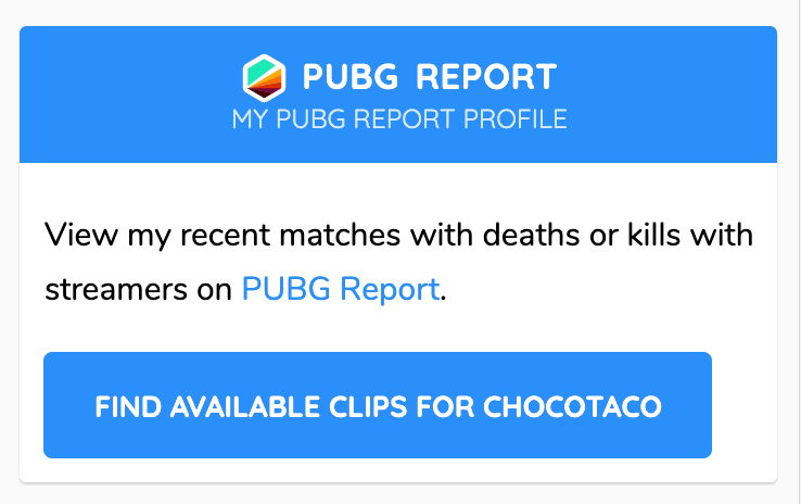 PUBG Report Dashboard Search