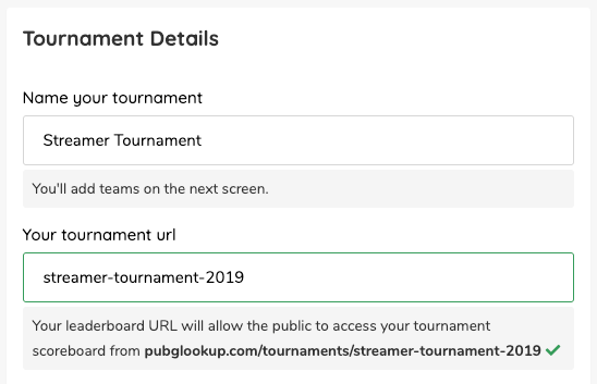 PUBG Tournament Public Leaderboards