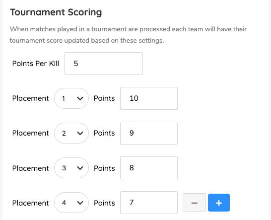 PUBG Tournament Scoring Settings